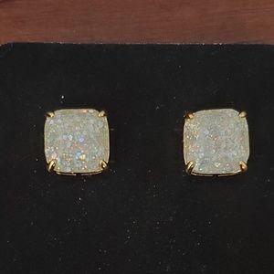 New! Kate Spadr White Glitter Sparkle Earrings